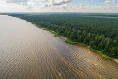 Vista aerea della linea costiera al giorno di estate Lago e foresta Fotografia Stock Libera da Diritti