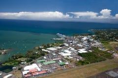 Vista aerea della linea costiera orientale di grande isola Fotografia Stock Libera da Diritti