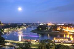 Vista aerea della maggior parte didi fiume, didi città e della Vistola di Debnicki Cracovia di K Immagine Stock Libera da Diritti