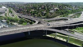 Vista aerea della maratona 2018 di Belgrado stock footage
