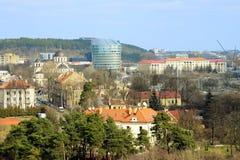 Vista aerea della molla del distretto di Zverynas della città di Vilnius Fotografia Stock Libera da Diritti
