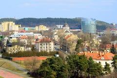 Vista aerea della molla del distretto di Zverynas della città di Vilnius Fotografia Stock