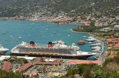 Vista aerea della nave da crociera di fantasia di Disney Fotografia Stock Libera da Diritti