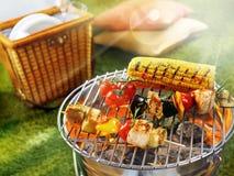 Pannocchia di granturco e barbecue del vegetariano Fotografia Stock
