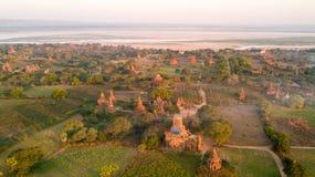 Vista aerea della pianura di Bagan nel Myanmar fotografia stock