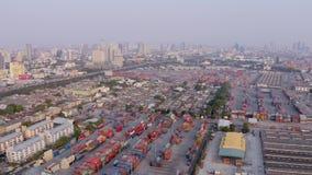 Vista aerea della porta di Bangkok stock footage