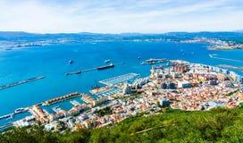 Vista aerea della porta in Gibilterra fotografia stock libera da diritti
