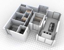 Vista aerea della rappresentazione dell'appartamento illustrazione vettoriale
