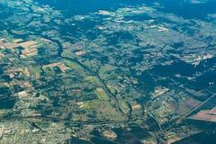 Vista aerea della regione di Fraser Coast Il Queensland, Australia Fotografie Stock Libere da Diritti