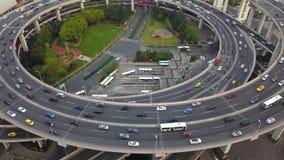 Vista aerea della rotonda del ponte di Nanpu, città di Shanghai, Cina Distretto e centri di affari finanziari in citt? astuta in  fotografie stock libere da diritti