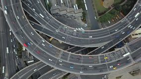 Vista aerea della rotonda del ponte di Nanpu, citt? di Shanghai, Cina Distretto e centri di affari finanziari in citt? astuta in  fotografia stock
