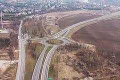 Vista aerea della rotonda nella città di wroclaw fotografie stock libere da diritti
