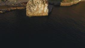 Vista aerea della spiaggia del Meta della costa di Sorrento, concetto di viaggio, spazio di tramonto per testo, viaggio vacanza i archivi video