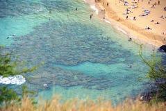 Vista aerea della spiaggia della baia di Hanuma sull'isola Hawai di Oahu con unrec Fotografie Stock Libere da Diritti