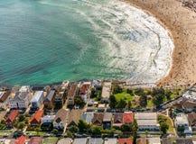 Vista aerea della spiaggia di Bondi dall'elicottero - Sydney, Australia Fotografia Stock