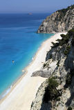 Vista aerea della spiaggia di Egremni, isola di Leucade Fotografia Stock