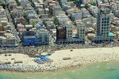 Vista aerea della spiaggia di Tel Aviv Fotografia Stock Libera da Diritti
