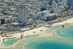 Vista aerea della spiaggia di Tel Aviv Fotografie Stock Libere da Diritti