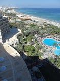 Vista aerea della spiaggia e degli hotel di Susa fotografie stock libere da diritti