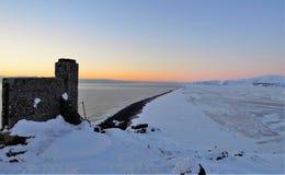 Vista aerea della spiaggia nera in Islanda Immagini Stock