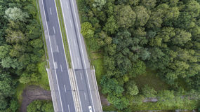 Vista aerea della strada di grande traffico in Sosnowiec Polonia Fotografie Stock