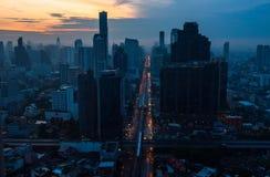 Vista aerea della strada di Sathron di mattina Fotografie Stock Libere da Diritti