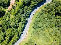Vista aerea della strada nella foresta delle montagne carpatiche fotografia stock libera da diritti
