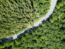 Vista aerea della strada nella foresta delle montagne carpatiche fotografia stock