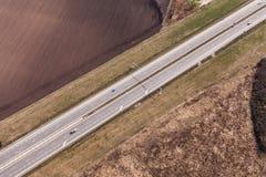 Vista aerea della strada principale immagini stock libere da diritti
