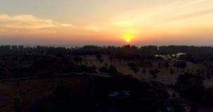 Vista aerea della strada sull'isola tropicale durante il tramonto archivi video