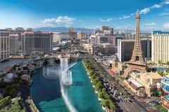 Vista aerea della striscia di fama mondiale di Las Vegas Immagini Stock Libere da Diritti