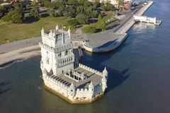Vista aerea della torre di Belem - Torre de Belem a Lisbona, Portogallo Fotografia Stock Libera da Diritti