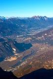 Vista aerea della valle di Adige - Italia Fotografie Stock