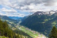 Vista aerea della valle di Piora nel Ticino Immagine Stock