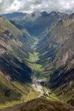 Vista aerea della valle di Pitztal in Austria Immagine Stock