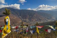 Vista aerea della valle di Thimphu immagine stock libera da diritti