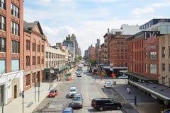Vista aerea della via del distretto di Chelsea e di imballaggio della carne a New York Fotografia Stock