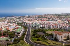 Vista aerea della zona residenziale di Santa Cruz de Tenerife sulle isole Canarie di Tenerife spain Fotografia Stock