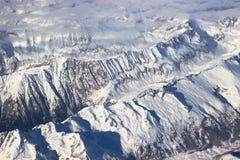 Vista aerea delle alpi di Snowy Fotografia Stock Libera da Diritti