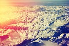 Vista aerea delle alpi di Snowy Fotografie Stock