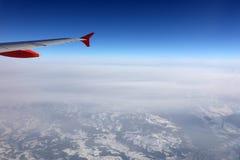 Vista aerea delle alpi svizzere dall'aereo Fotografia Stock Libera da Diritti