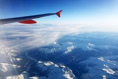 Vista aerea delle alpi svizzere dall'aereo Immagine Stock Libera da Diritti