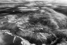 Vista aerea delle alpi svizzere dall'aereo Fotografia Stock