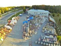 Vista aerea delle azione dei materiali da costruzione fotografie stock libere da diritti