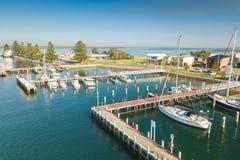 Vista aerea delle barche nel porto, porta Albert immagini stock