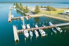 Vista aerea delle barche nel porto, porta Albert fotografia stock libera da diritti