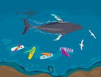 Vista aerea delle barche a vela e delle balene che passano da parte a parte Immagini Stock