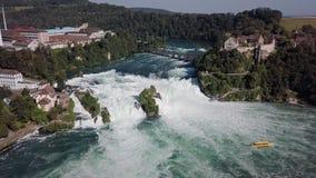 Vista aerea delle cascate del Reno, Svizzera stock footage