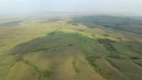 Vista aerea delle colline con erba verde archivi video