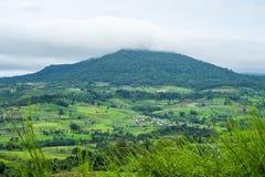 Vista aerea delle colline in rurale coperto di nebbia di mattina Fotografie Stock Libere da Diritti